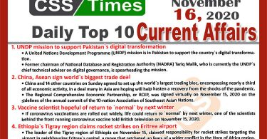 Daily Top-10 Current Affairs MCQs / News (November 16, 2020) for CSS, PMS