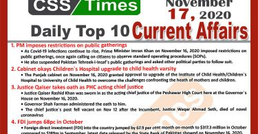Daily Top-10 Current Affairs MCQs / News (November 17, 2020) for CSS, PMS