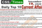 Daily Top-10 Current Affairs MCQs / News (November 19, 2020) for CSS, PMS