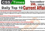 Daily Top-10 Current Affairs MCQs / News (November 20, 2020) for CSS, PMS