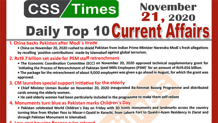 Daily Top-10 Current Affairs MCQs / News (November 21, 2020) for CSS, PMS