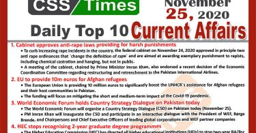 Daily Top-10 Current Affairs MCQs / News (November 25, 2020) for CSS, PMS