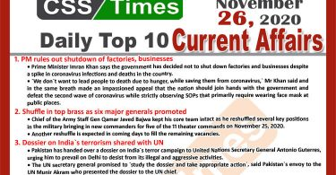 Daily Top-10 Current Affairs MCQs / News (November 26, 2020) for CSS, PMS