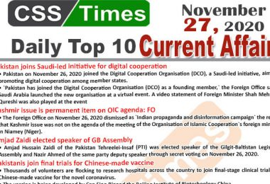 Daily Top-10 Current Affairs MCQs / News (November 27, 2020) for CSS, PMS