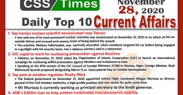 Daily Top-10 Current Affairs MCQs / News (November 28, 2020) for CSS, PMS