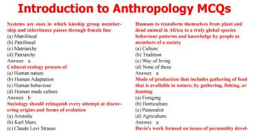 Introduction to Anthropology MCQs for CSS (Set-II)