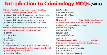 Introduction to Criminology MCQs for CSS (Set-I)