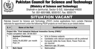 Situation Vacant in Pakistan Council for Science and Technology