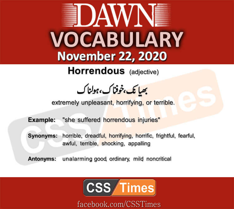 Daily DAWN News Vocabulary with Urdu Meaning (22 November 2020)