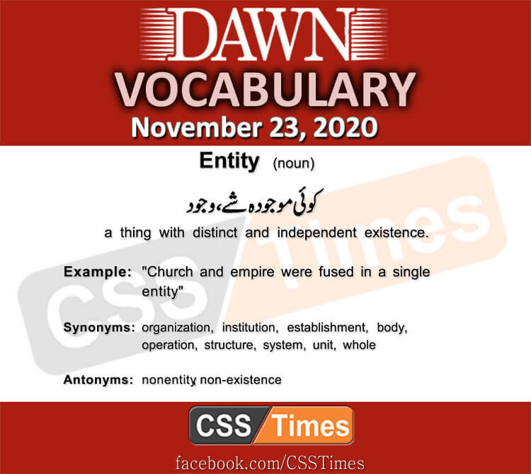 Daily DAWN News Vocabulary with Urdu Meaning (23 November 2020)