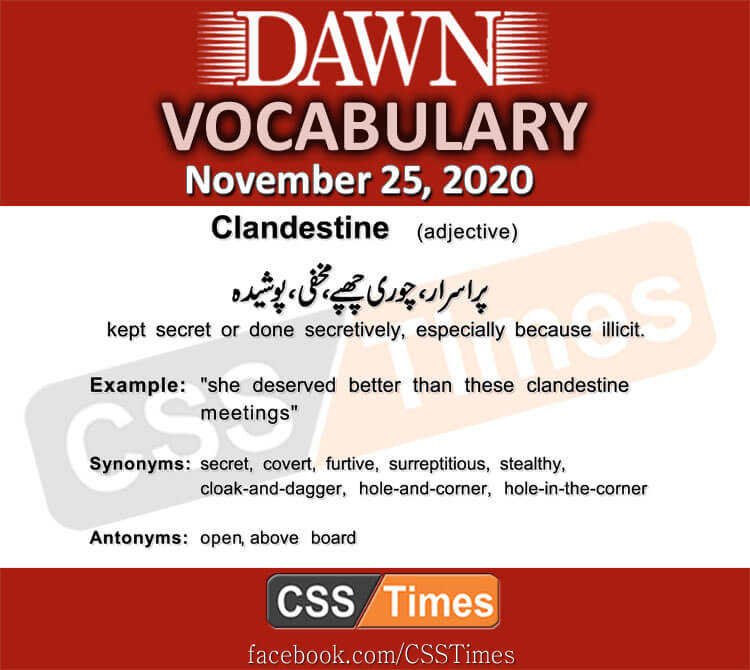 Daily DAWN News Vocabulary with Urdu Meaning (25 November 2020)