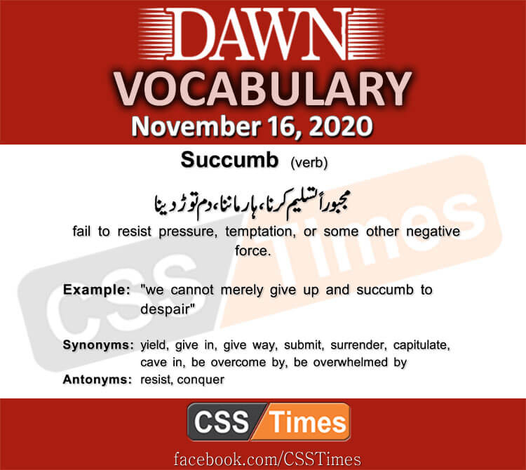 Daily DAWN News Vocabulary with Urdu Meaning (16 November 2020)