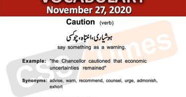 Daily DAWN News Vocabulary with Urdu Meaning (27 November 2020)