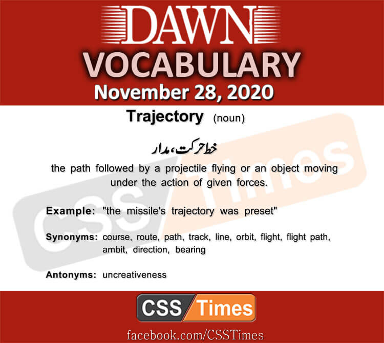 Daily DAWN News Vocabulary with Urdu Meaning (28 November 2020)