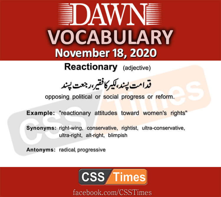 Daily DAWN News Vocabulary with Urdu Meaning (18 November 2020)