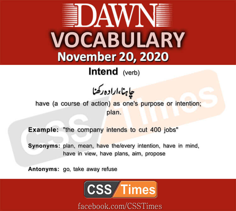 Daily DAWN News Vocabulary with Urdu Meaning (20 November 2020)