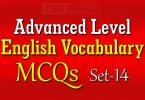 Advanced Level English Vocabulary MCQs (Set-14)