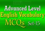 Advanced Level English Vocabulary MCQs (Set-15)