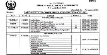 CSS Exams 2021 Date Sheet (Draft)