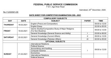 CSS Exams 2021 Date Sheet (Final)