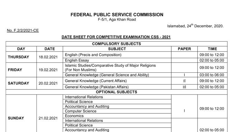 CSS Exams 2021 Date Sheet (Final)