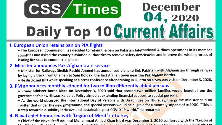 Daily Top-10 Current Affairs MCQs / News (December 04, 2020) for CSS, PMS