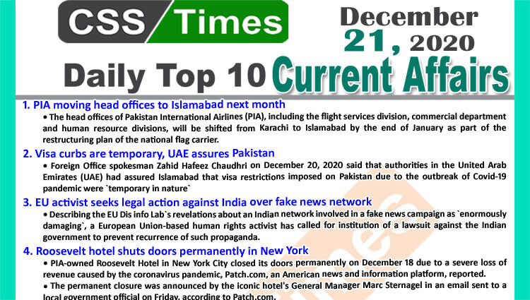 Daily Top-10 Current Affairs MCQs / News (December 21, 2020) for CSS, PMS