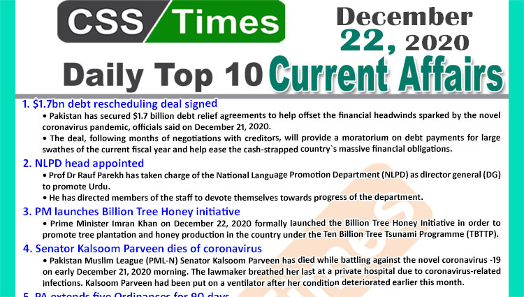 Daily Top-10 Current Affairs MCQs / News (December 22, 2020) for CSS, PMS
