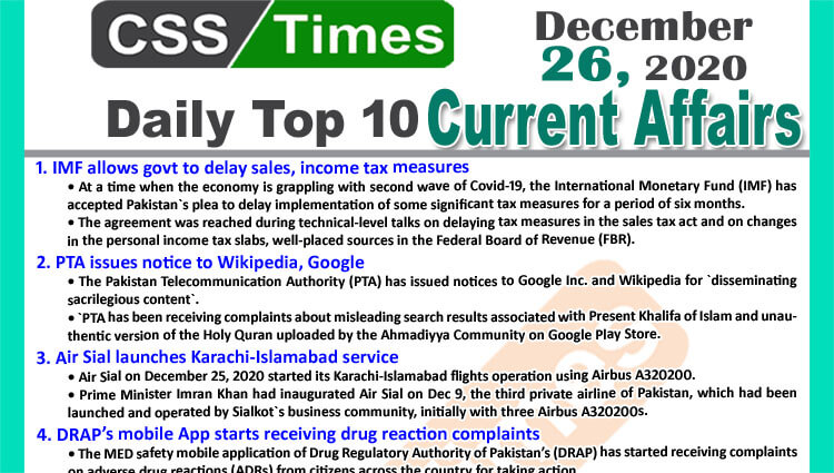 Daily Top-10 Current Affairs MCQs / News (December 26, 2020) for CSS, PMS