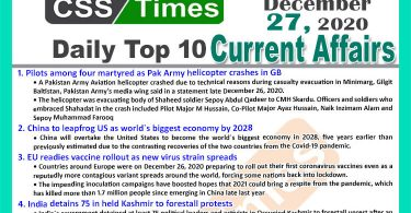 Daily Top-10 Current Affairs MCQs / News (December 27, 2020) for CSS, PMS