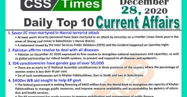 Daily Top-10 Current Affairs MCQs / News (December 28, 2020) for CSS, PMS