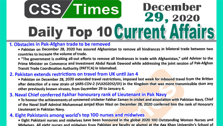 Daily Top-10 Current Affairs MCQs / News (December 29, 2020) for CSS, PMS