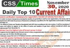 Daily Top-10 Current Affairs MCQs / News (November 30, 2020) for CSS, PMS