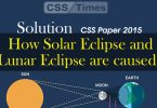 How solar eclipse and lunar eclipse are caused? (CSS Paper 2015 Solution)