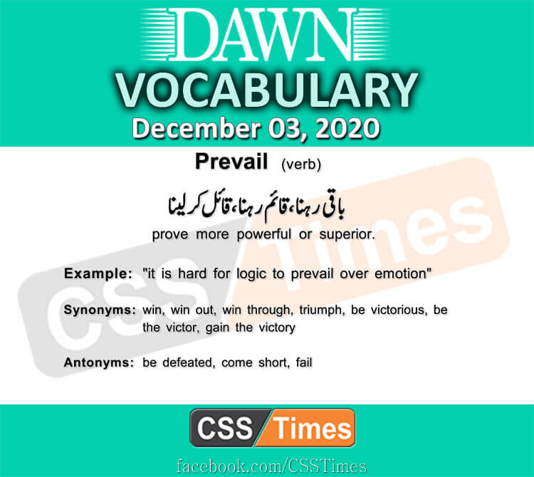 Daily DAWN News Vocabulary with Urdu Meaning (03 December 2020)