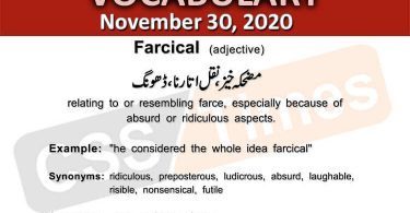 Daily DAWN News Vocabulary with Urdu Meaning (30 November 2020)