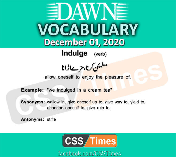 Daily DAWN News Vocabulary with Urdu Meaning (01 December 2020)