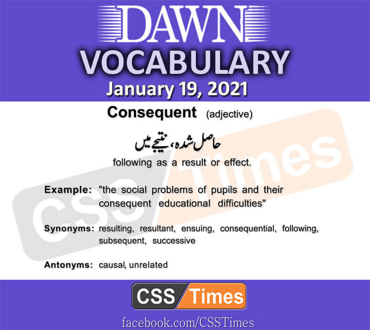 Daily DAWN News Vocabulary with Urdu Meaning (19 January 2021)