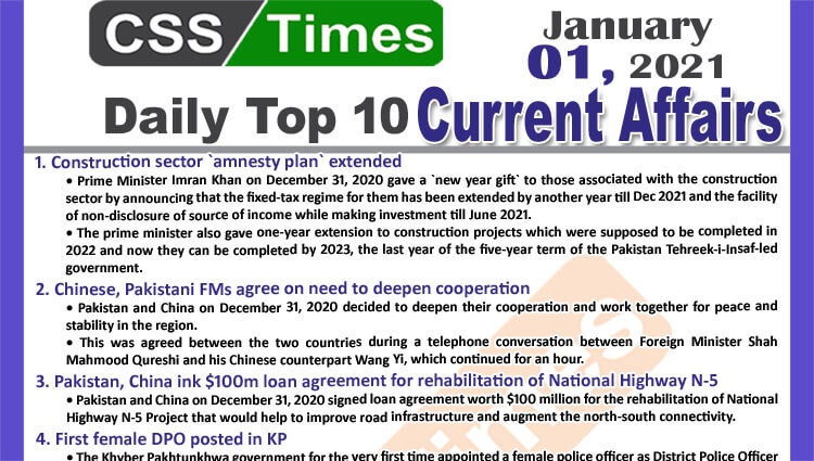 Daily Top-10 Current Affairs MCQs / News (January 01, 2021) for CSS, PMS