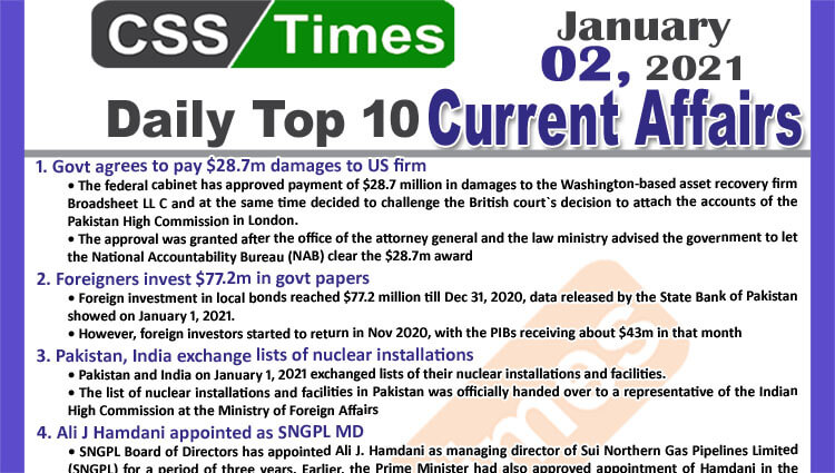 Daily Top-10 Current Affairs MCQs / News (January 02, 2021) for CSS, PMS