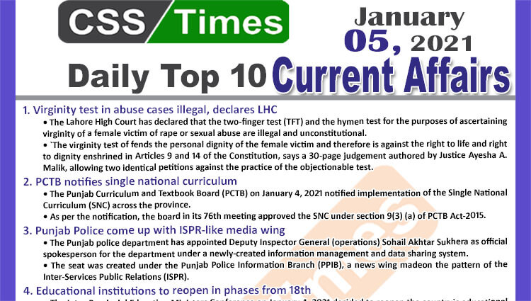 Daily Top-10 Current Affairs MCQs / News (January 05, 2021) for CSS, PMS