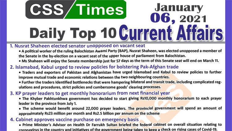 Daily Top-10 Current Affairs MCQs / News (January 06, 2021) for CSS, PMS