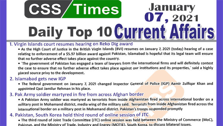 Daily Top-10 Current Affairs MCQs / News (January 07, 2021) for CSS, PMS