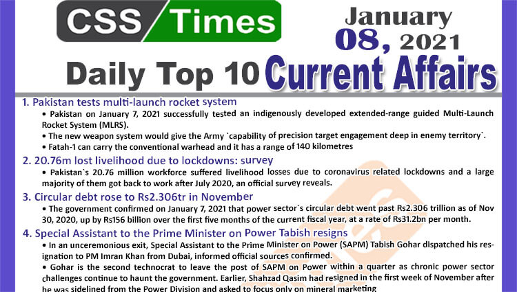 Daily Top-10 Current Affairs MCQs / News (January 08, 2021) for CSS, PMS
