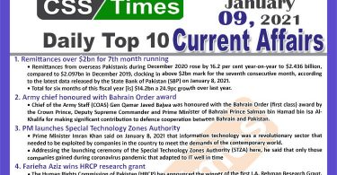 Daily Top-10 Current Affairs MCQs / News (January 09, 2021) for CSS, PMS