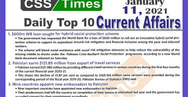 Daily Top-10 Current Affairs MCQs / News (January 11, 2021) for CSS, PMS