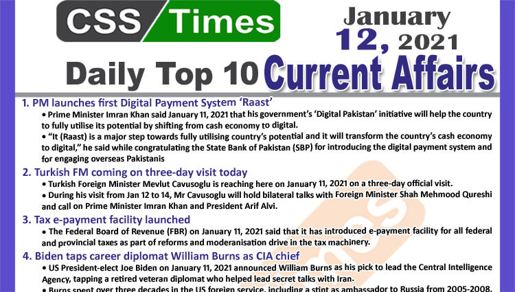 Daily Top-10 Current Affairs MCQs / News (January 12, 2021) for CSS, PMS