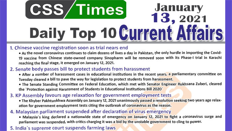Daily Top-10 Current Affairs MCQs / News (January 13, 2021) for CSS, PMS