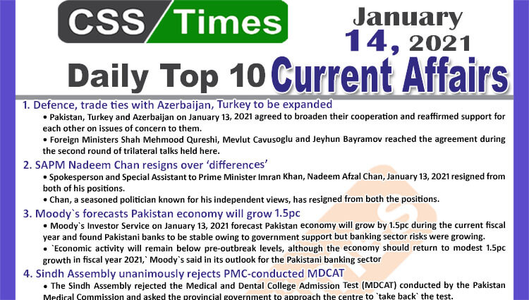 Daily Top-10 Current Affairs MCQs / News (January 14, 2021) for CSS, PMS