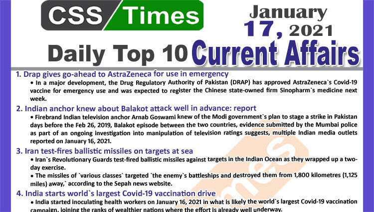 Daily Top-10 Current Affairs MCQs / News (January 17, 2021) for CSS, PMS